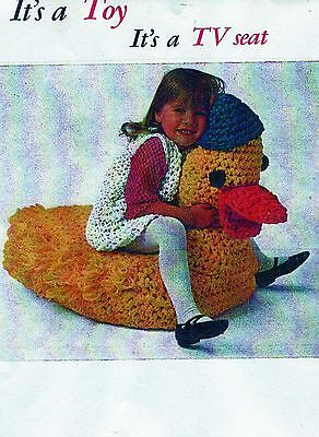 VINTAGE 1960'S -IT'S A TOY IT'S A T V SEAT DUCK CHILDS SET CROCHET PATTERN # 833