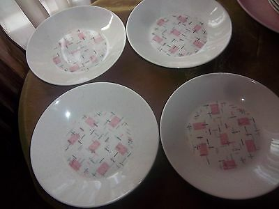 "4 Vernon Tickled Pink Shallow Soup Bowls 8 1/2"" Look has if never been used"