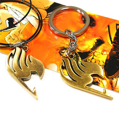 Cosplay FAIRY TAIL Natsu Dragneel Figure Guild Pendant Necklace &  keyring chain