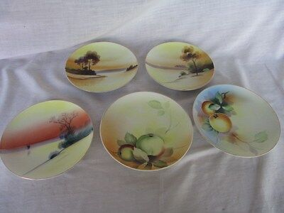 "5 different Meito China 6"" Hand Painted plates Made in Japan"