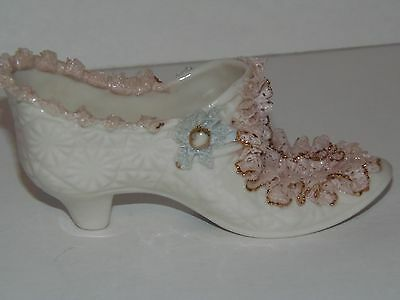 Porcelain Shoe Slipper Heirlooms of Tomorrow Lace Gold Gilt #1085
