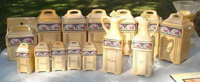Vintage Mepoco Ware German Iridescent 14 Canisters Complete Set