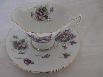 Vintage ROSSETTI CHICAGO * Japan SPRING VIOLETS Hand Painted FOOTED CUP & SAUCER