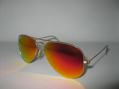New Ray Ban Aviator 3025 112/69 58mm Orange Mirror Sunglasses 100% Authentic