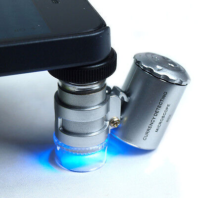 60X Jewelers Loupe / Magnifier with LED & UV Lights - iPhone 5 compatible Loop