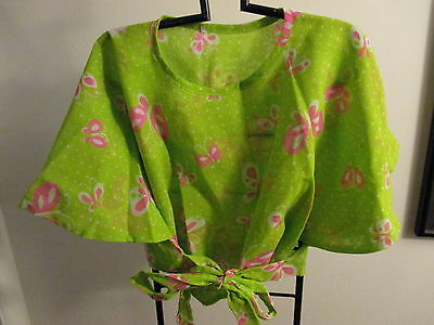 NEW HANDMADE from a 70'S VINTAGE PATTERN~FLUTTER TOP with HOT PINK BUTTERFLIES