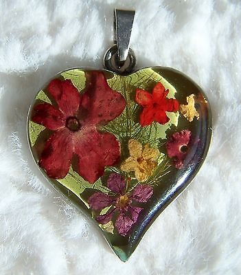 Vintage 925 Sterling Silver Wallflowers Heart Pendant ~ Made with Real Flowers!