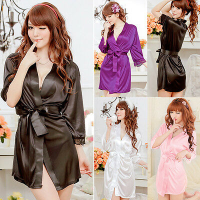 Women Open Front Solid Bathrobe Lingerie Set Robes Kimono Nightwear Sleepwear