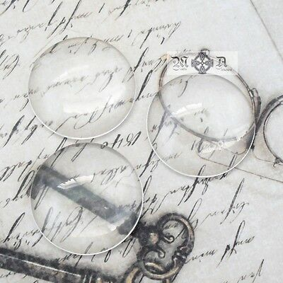 20 x Round Domed 25mm Clear Transparent Glass Cabochons Seals