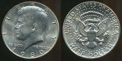 United States, 1980-P Half Dollar, Kennedy - Uncirculated