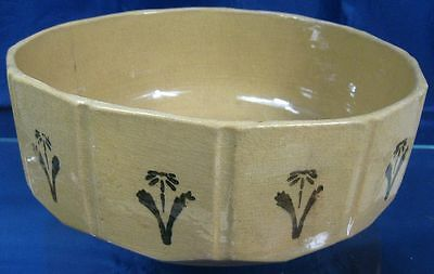 Rare Antique 19th Century Yellow Ware Sided Bowl With Painted Flowers