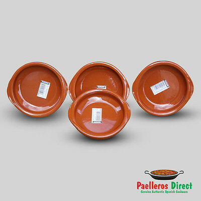 Set of 4 x 12cm Spanish Terracotta Tapas Dishes / Cazuelas