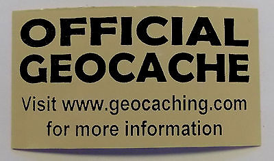 3 x Cache stickers for Geocaching black print on brown sticker