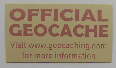 3 x Cache stickers for Geocaching pink print on light brown sticker