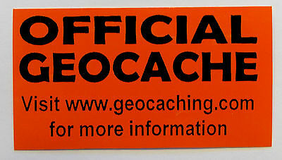 3 x Cache stickers for Geocaching black print on orange sticker