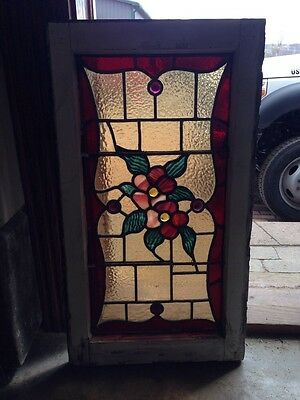Sg 223 Antique Stained Glass Floral Flowers Joy Window