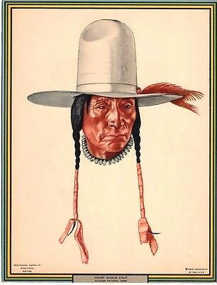 WINOLD REISS 1930's Calendar Print - CHIEF EAGLE CALF - Great Northern Railway