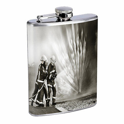Fire fighter D7 Flask 8oz Stainless Steel Americas heroes Fireman Rescue