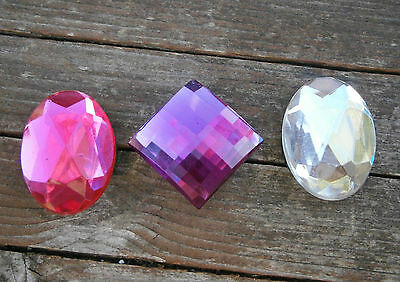 3 Retro 1980's Plastic Faceted Rhinestone Button Covers Clear Purple & Pink