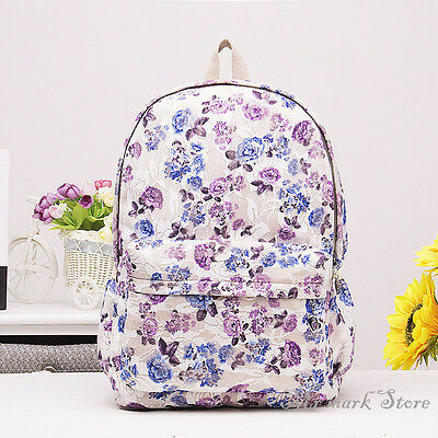 Floral Print Backpack Book Bag Pattern Fashion Animal Large School Tote F269