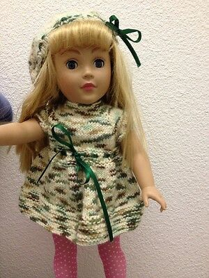 """American Girl 18"""" Doll Clothes Handmade Sweater Dress Hat Set NEW Knit Camo Army"""
