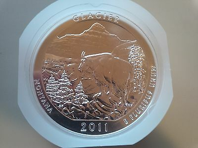2011 America the Beautiful 'GLACIER' ROLL OF 10 (5 ounce 5 oz) Coins