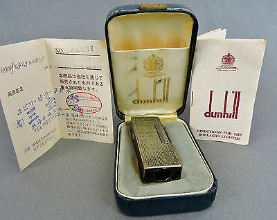 AUTHENTIC DUNHILL SILVER TONE LIGHTER SWISS MADE w/ CASE, CARD, INSTRUCTIONS