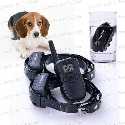 2DOG 300M Waterproof Rechargeable Remote Pet Dog Training Shock Vibration Collar