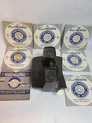 1940's SAWYER'S VIEW-MASTER Bakelite VIEWER + 7 Hand Lettered REELS All Perfect