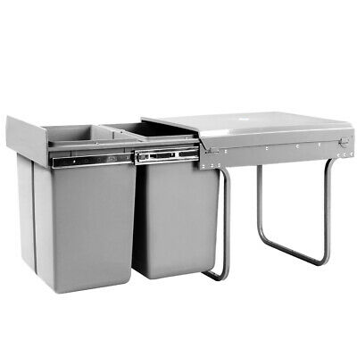 Duel Side Pull Out Rubbish Waste Basket 2 x 20L Kitchen Drawers Bin