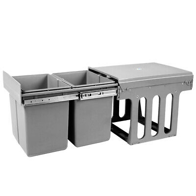 Duel Side Pull Out Rubbish Waste Basket 2 x 15L Kitchen Drawers Bin
