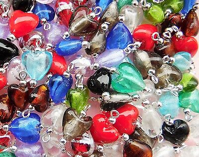 ❤ Silver Plated Glass HEART CHARMS Choose COLOUR Jewellery Making Wholesale ❤