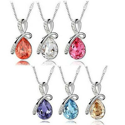 Angel's Tear Pendant Lady Women's Girl's Crystal White Chain Necklace Hot SALE