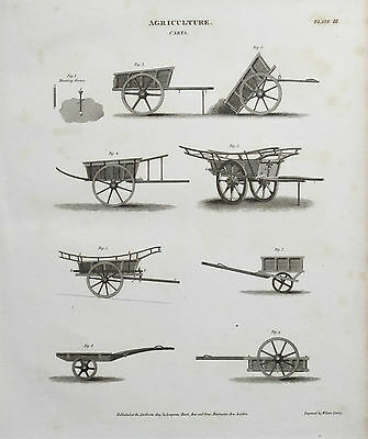 1809 Agriculture Farming Carts Antique Print Engraving Rees