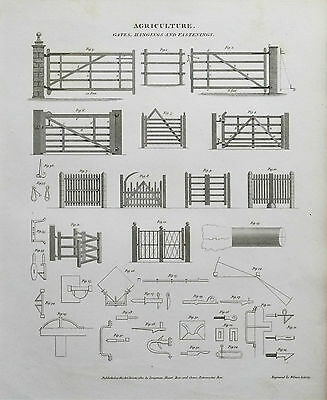 1810 Agriculture Farming Gates Hangings Fastenings Antique Print Engraving Rees
