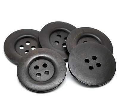 10 Hot New Dark Brown 4 Holes Wood Big Sewing Buttons for Sweater Overcoat 5cm