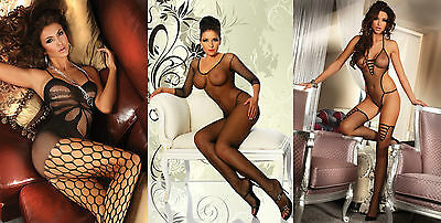 NEU**OVP** Sexy Nylon Catsuit Bodystocking Netz S-L **NEW Dessous String