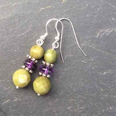 Connemara marble and amethyst earrings. Irish jewellery and gifts. Natural stone