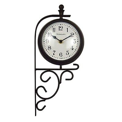 Outdoor Weatherproof Clock and Thermometer With Glass Cover Metal Frame 7-1/2""