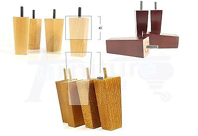 4x WOODEN FURNITURE FEET REPLACEMENT LEGS FOR SOFAS, CHAIRS 100mm HIGH M8(8mm)