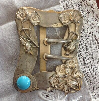 Antique Ladies Victorian Silverplated Buckle, Sash Buckle, Sprays Of Flowers