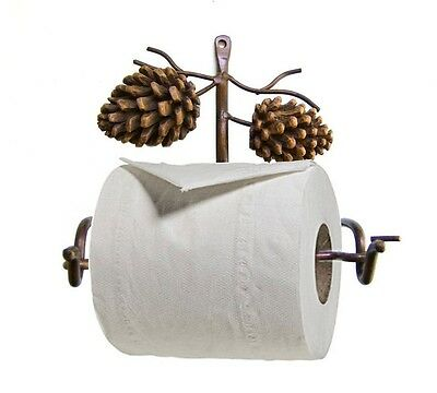 NEW Pinecone Rustic Toilet Paper Holder Brown Bathroom 6 Height