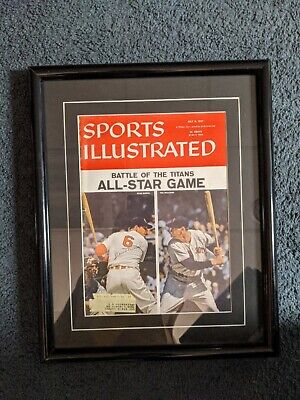 Vintage Framed Sports Illustrated Ted Williams & Stan Musial July 8, 1957 Rare