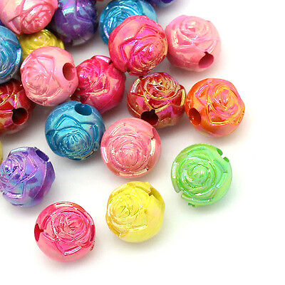 100 Pcs 8mm Mix Acrylic Round Metal Enlaced Spacer Beads Kids Craft D118