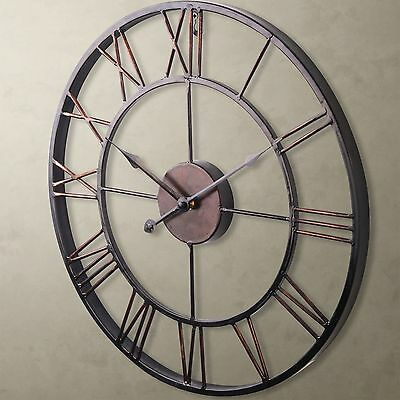 Contemporary Country Antique Style Distressed Skeleton Metal Wall Clock