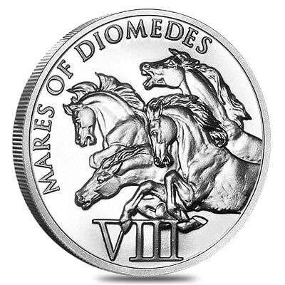 "The 12 Labors Of Hercules ""Mares Of Diomedes"" 1 oz .999 Silver BU Round USA Coin"