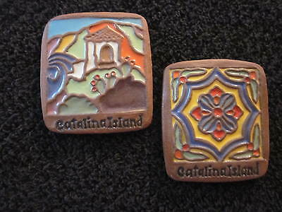 CATALINA ISLAND MAGNET TILES 3 x 2.75 INCHES  SET OF 2 HISTORICAL MAGNETS