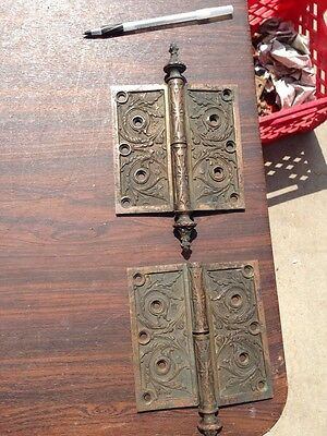 Ms 5 One Pair 5.5 X 5.5 And Very Decorative Bronze Hinges Antique