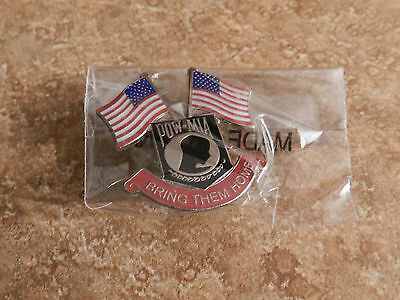 POW MIA Bring Them Home with Waving American Flags Lapel Hat Pin Lead Free