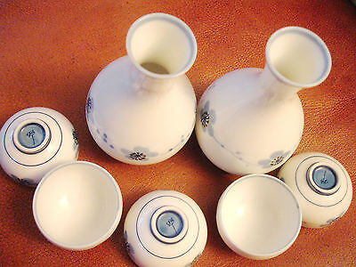Japanese Sake Set For 5 Sakura Cherry Blossoms Pattern Marked to base.